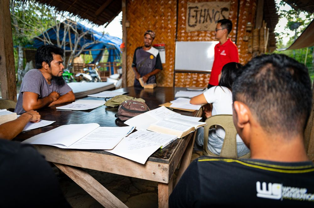 Philippines: Philip Lim leading Bible training for a group of guys. Photo by Alex Coleman. More Info