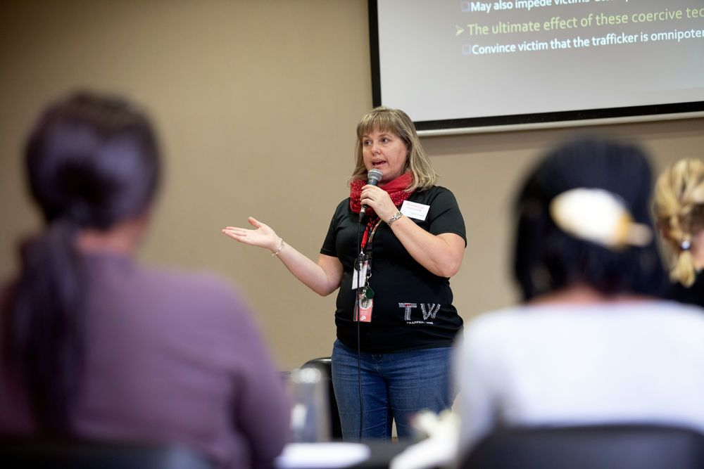 Annelize (South Africa) speaks at a Traffic Wise training. Traffic Wise is a ministry of Freedom Challenge.