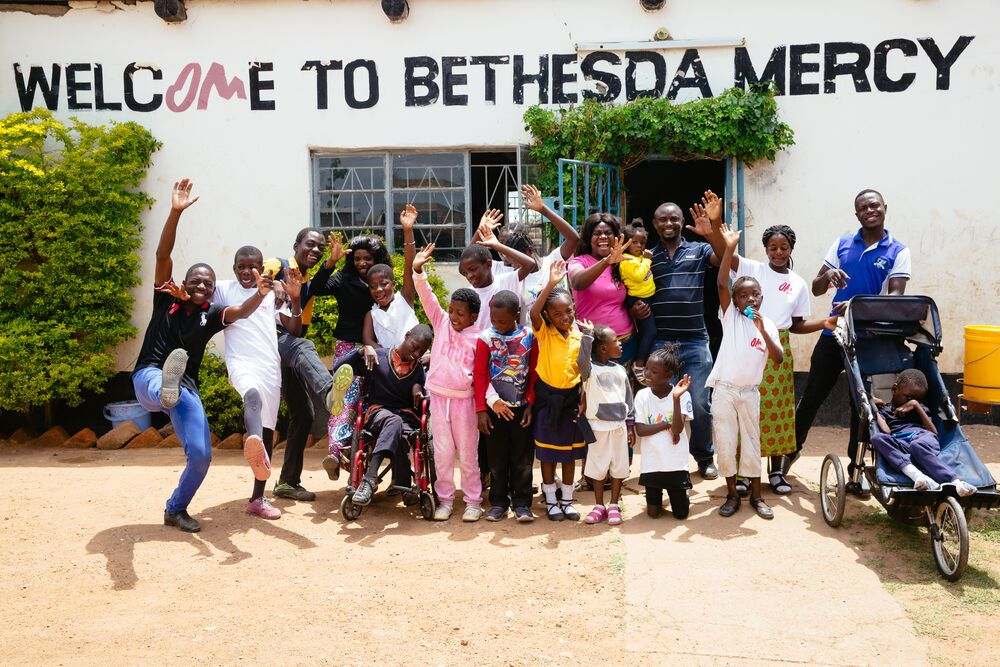 Group photo of the Bethesda Mercy school for the disabled in Zambia. Photo by Brad Livengood.