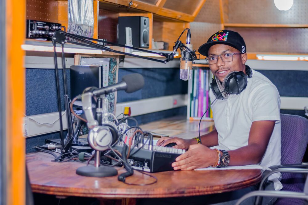 Kondwani, the station manager, records at Radio Lilanguka. Radio Lilanguka in on air seven days a week from 05:00-22:00 in Mangochi, Malawi. They broadcast a variety of shows and are dedicated to sharing the love of Christ with those who dont know Him.