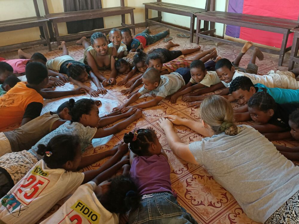Deborah (UK) participates in ministry at villages of the Androy region of Madagascar.