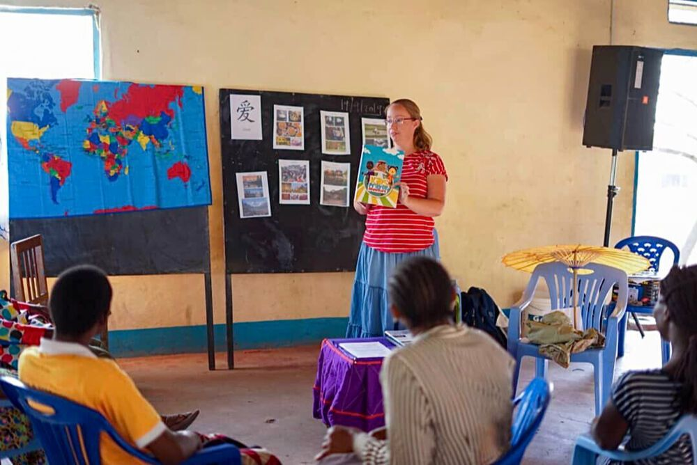 Marleen leads a session on mobilising children for missions in Tanzania. Photo by Stephanie McWilliam