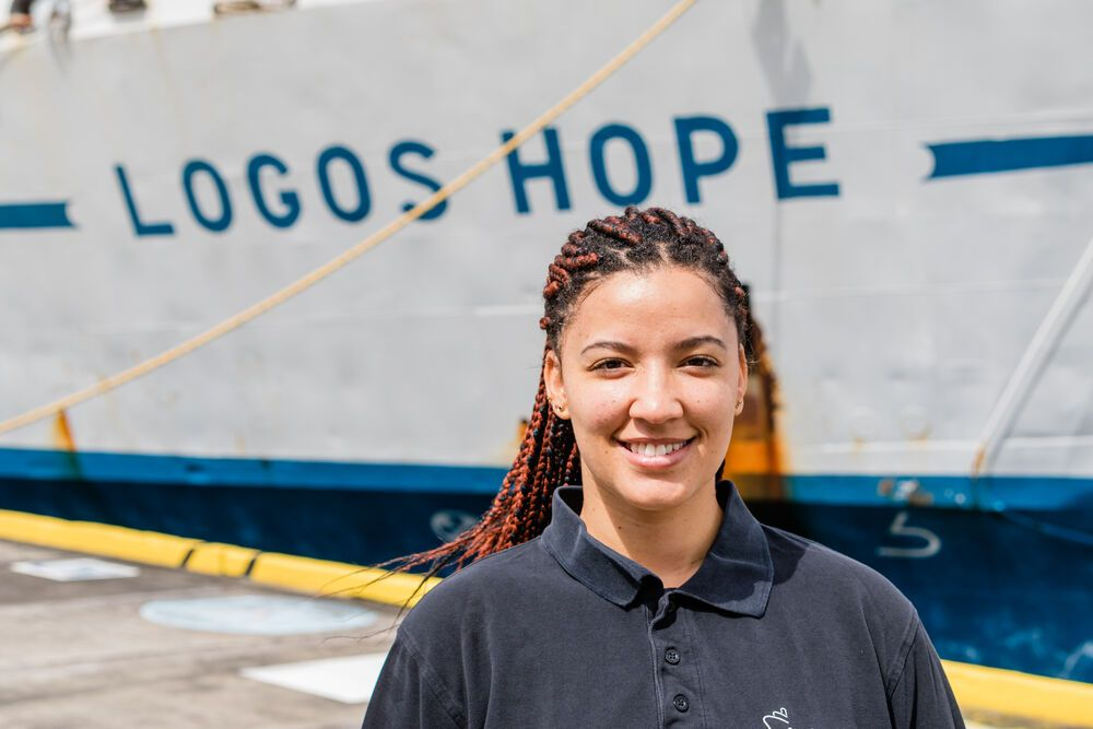 Ships: Kingstown, Saint Vincent and the Grenadines :: Delysia de Koe (Namibia) loves to encourage her fellow crewmembers on board Logos Hope. More Info