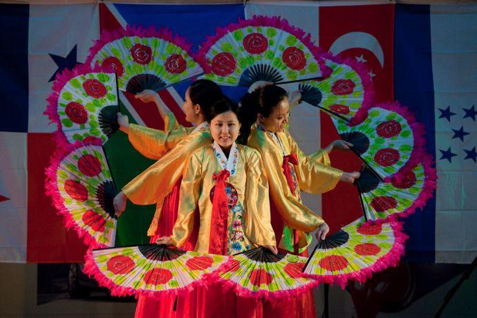 Faroe Is.: Klaksvik, Faroe Islands  ::  Naomi Shimada (Japan) front and center in the Korean fan dance. More Info