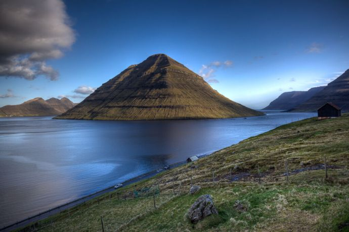 Faroe Is.: Tórshavn, Faroe Islands  ::  The Island of Kunoy as seen from the North East side of the town of Klaksvik. More Info
