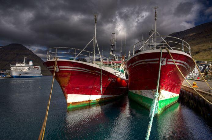 Faroe Is.: Klaksvik, Faroe Islands  ::  Fishing vessels nearby the berth. Fishing is the major industry on the Faroes. More Info