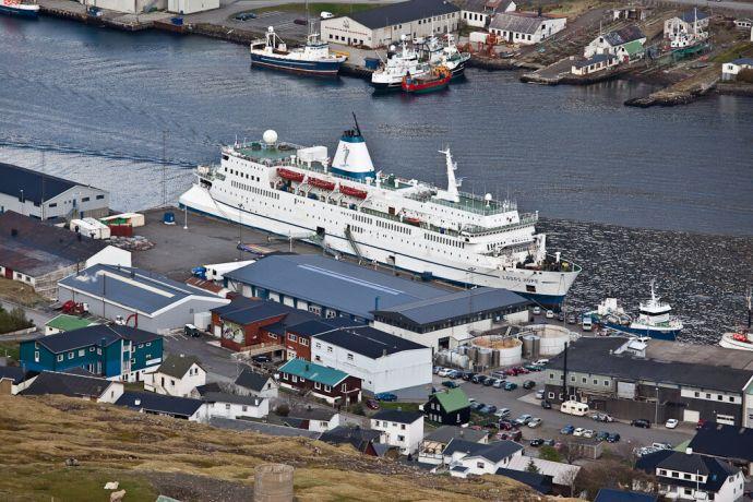 Faroe Is.: Klaksvik, Faroe Islands  ::  The vessel lies at its berth in Klaksvik. More Info