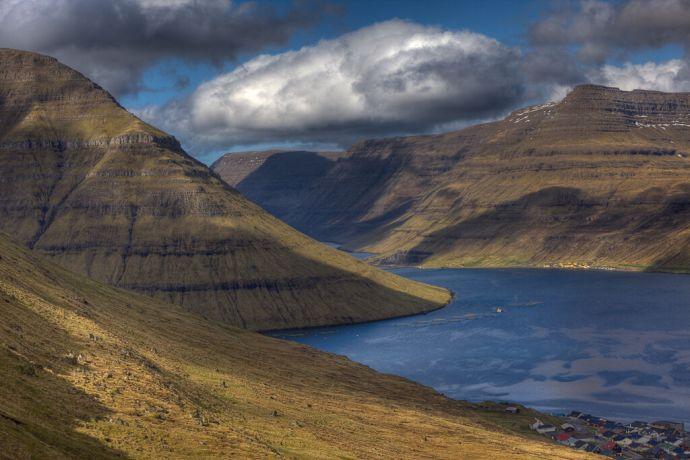 Faroe Is.: Klaksvik, Faroe Islands  ::  Circular salmon pens in a fjord near Hvannasund. More Info