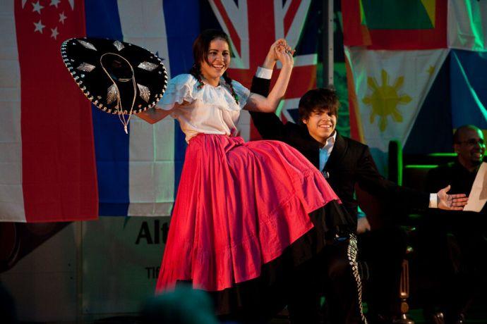 Faroe Is.: Klaksvik, Faroe Islands  ::  Sigrid Rodriguez and Ruben Muñoz Morales (both Mexico) perorming the Mexican Dance duringa Thank You event. More Info