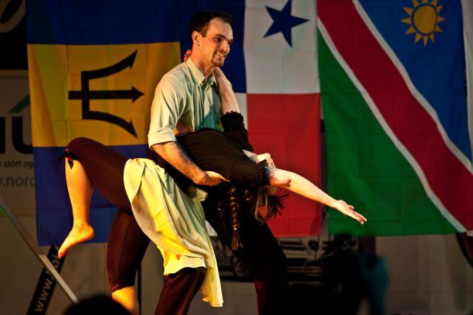 Faroe Is.: Klaksvik, Faroe Islands  ::  Martin Boulanger (France) and Christine Wu (Taiwan) perform the swing dance. More Info