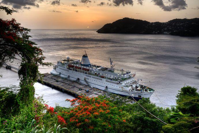 Saint Vincent & the Grenadines: Kingstown, St. Vincent  ::  Alongside at sunset. More Info