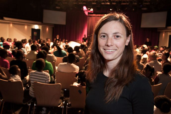Grenada: St Georges, Grenada  ::  Alison McFarland (Northern Ireland) in the Hope Theatre during the Book of Mark Drama. More Info