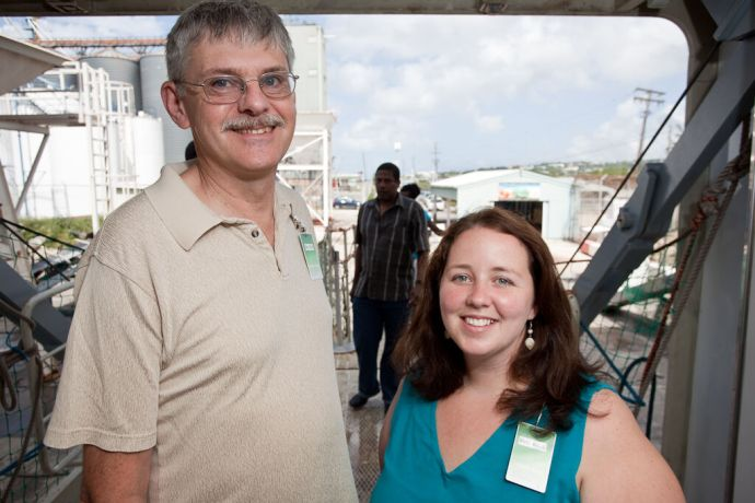 Barbados: Bridgetown, Barbados :: Two Vision Team members, Blain Taylor and Wendy Wallis (both Canada), welcoming guests to the Visitor Experience. More Info