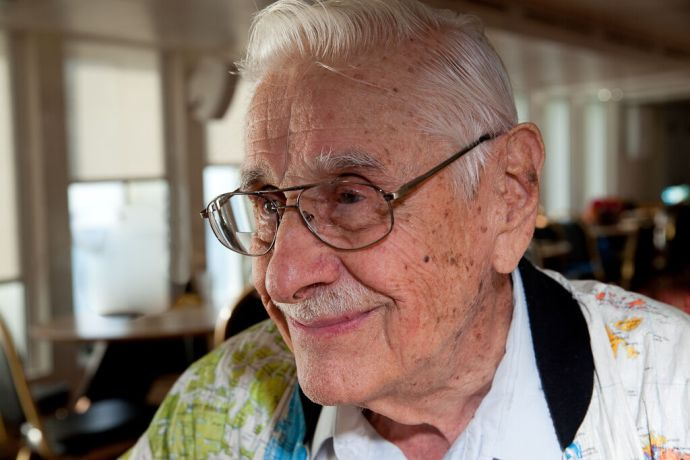 Barbados: Bridgetown, Barbados  ::  92 year old Edwin Messerschmidt (USA) has been involved with OM for a long time and may be the oldest person to climb the Pilots Ladder on the vessel so far. More Info