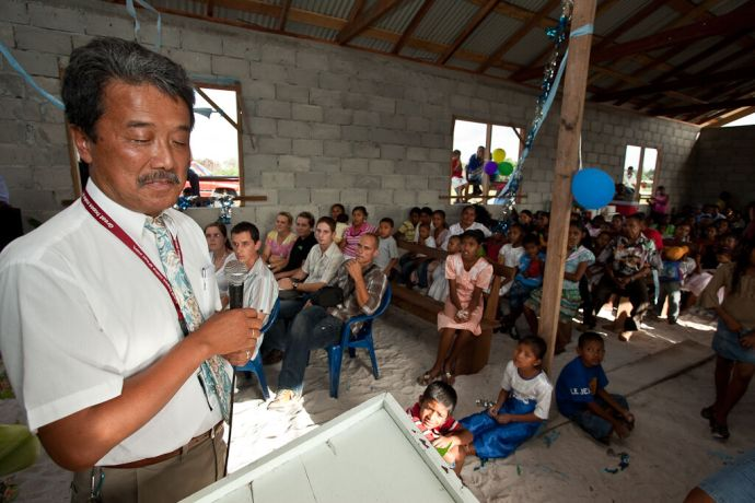 Guyana: Georgetown, Guyana  ::  Masami Nakazawa (Japan) delivering a message of thanks in the new church building. More Info