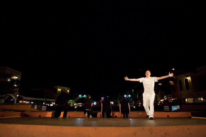 Aruba: Oranjestad, Aruba :: Crew members performing a drama at an outdoor amphitheatre in a local shopping center. More Info