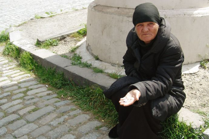Caucasus: A Georgian woman begging for money. More Info