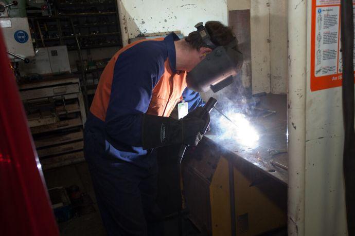 Malta: Valletta, Malta :: Daniel Kauter (Australia) is modifying pipe flanges. More Info