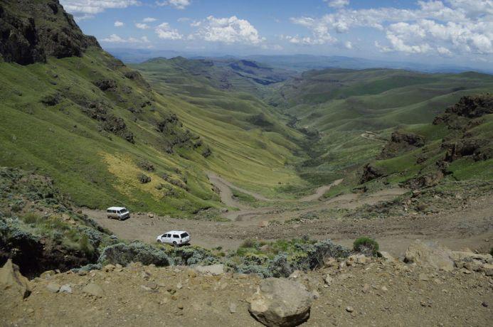 Lesotho: Lesotho landscape - view of Sani Pass More Info