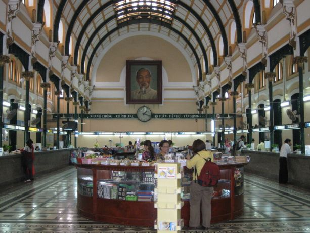 Vietnam: Interior of Central Post Office in Ho Chi Minh City, Vietnam. Built in early 20th Century when Vietnam was part of French Indochina More Info