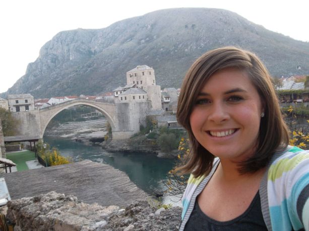 Bosnia & Hercegovina: Courtney (USA) taking a break from ministry with a trip to Mostar, the 5th largest city in Bosnia-Hercegovina. Named after the bridge keepers (mostari) who guarded the Stari Most (Old Bridge) in medieval times, the Old Bridge is one of the citys most recognisable landmarks. More Info