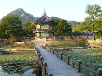 South Korea: Hyangwonjeong (Pavilion of Far-Reaching Fragrance) built around 1873 is a small two-story pavilion situated on a small island within the grounds of Seouls largest palace, Gyeongbokgung (Palace Greatly Blessed By Heaven). More Info