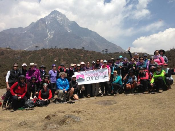 United States: The Freedom Climbers pose for a photo with Mt. Everest in the background. They have completed the first few days of the journey to Mt. Everest Base Came and Kala Pattar Peak. Please pray for them. More Info