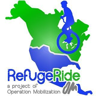 United States: Logo of Dustin and Katie Kelms of OM Arts are riding unicycles across the US this summer 2013 in aid of Syrian refugees and displaced people More Info