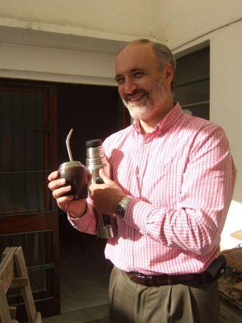 Uruguay: Alejandro Las, OM Uruguay field leader, holding Mate, the typical uruguayan hot drink. More Info