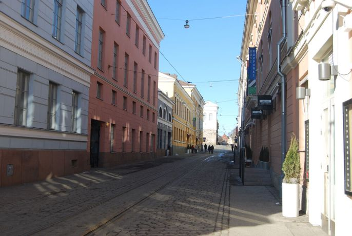 Finland: A street view in downtown Helsinki, Finland. More Info
