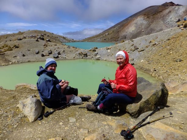 New Zealand: Resting at the Emerald Lakes for a bite to eat during Freedom Climb New Zealand 2013. More Info