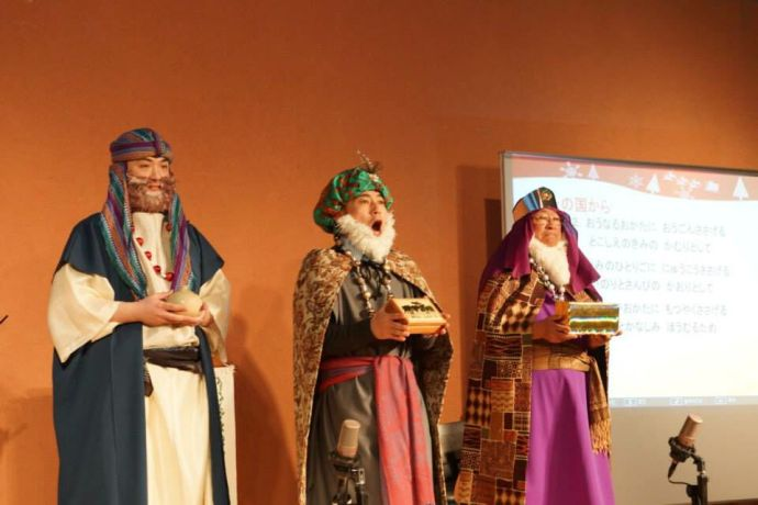 Japan: The three wise men distribute gifts during Tonamino Bible Churchs annual Christmas concert this month. More Info