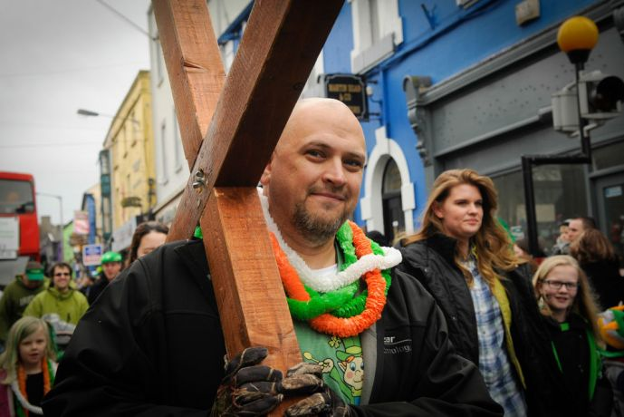 Ireland: St. Patricks Day Parade in Athlone, where OM Ireland distributed literature and walked in the parade More Info