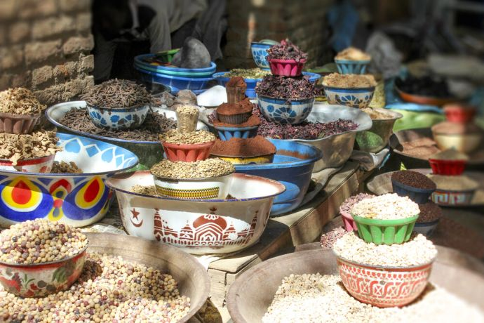 Africa: Bean an spice variety on a market, Chad. More Info