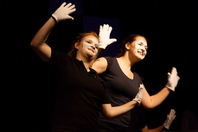 South Korea: Incheon, South Korea :: Caylee Good (South Africa) and Katharina Eichinger (Austria) perform mime at the Digital Generation event. More Info