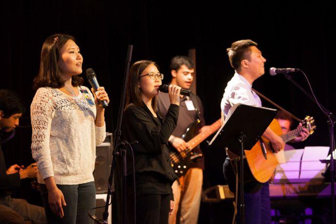 South Korea: Incheon, South Korea :: Bo Mi Kim (South Korea), Eunji Lee (South Korea), Sam Castro (Mexico) and Huimin Kim (South Korea) lead worship at the Young Adult Cafe event. More Info