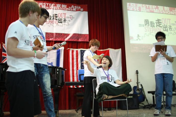 Taiwan: Mofay (middle) from Taiwan and her team use drama to present Buddhism and the way to share the gospel with a Buddist. More Info