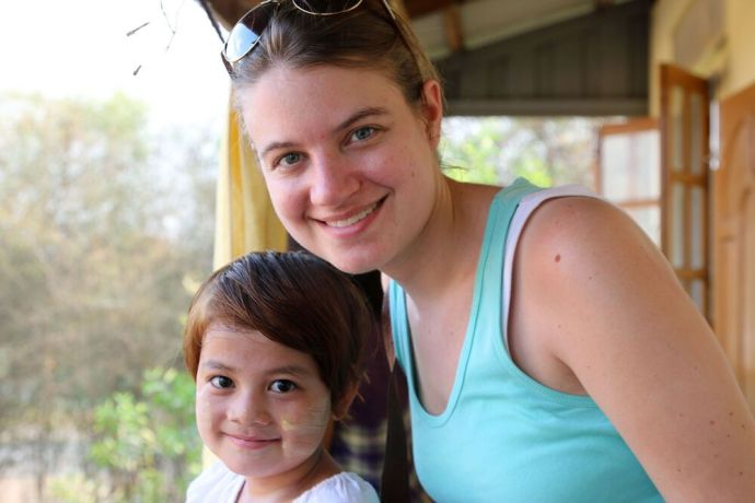 Myanmar: An orphan girl from an OM partner orphanage north of Yangon with OMNIvision producer Katie Morford More Info