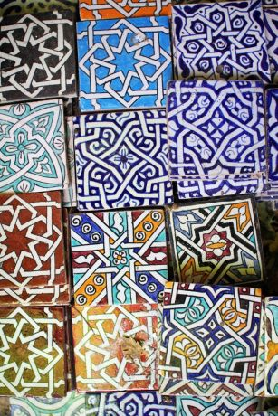 North Africa: Vividly painted tiles are found in North Africa inside and outside buildings, covering floors, walls and arches.