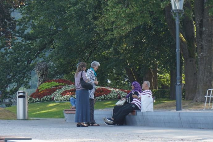 Austria: Talking to elderly Muslim couple on holiday in Austria during the outreach More Info