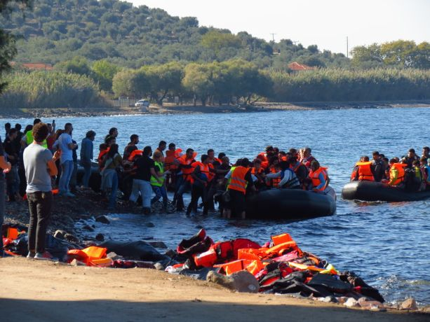 Greece: Syrian refugees arriving on the Greek island of Lesbos. This beach is one of the easier to land at than some of the more rocky areas nearer to the Lighthouse. More Info