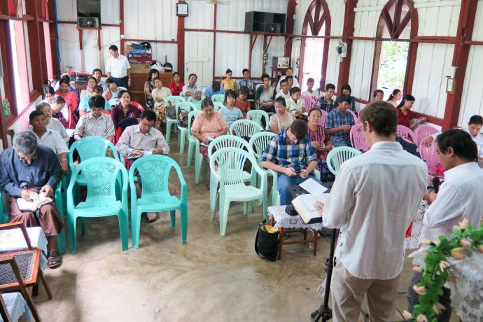 Myanmar: Yangon, Myanmar :: Tobi Merz (Germany) shares a message of encouragement to a local church. More Info