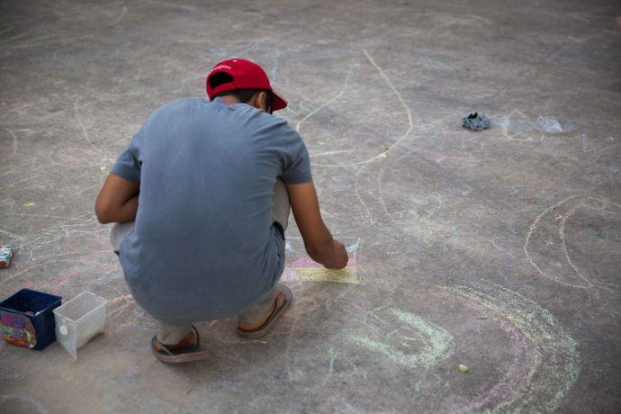 Greece: Chalk art at Galatsi camp, Athens. Photo credit: Kathryn Berry More Info