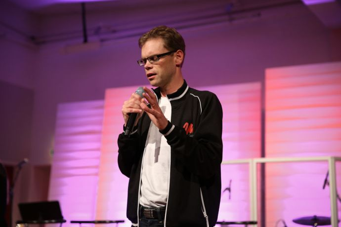 Sweden: Martin Ström, OM Swedens field leader, prays during the MOVE conference which aims to get young Swedish people involved in missions More Info