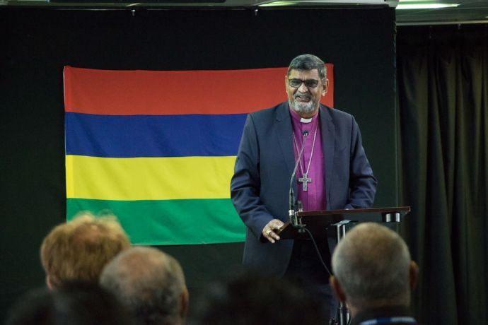 Mauritius: Port Louis, Mauritius :: Guest of Honour, His Grace Ian Ernest, Archbishop of the Indian Ocean makes a speech at the Official Opening in the Logos Lounge. More Info