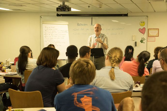 Mauritius: Port Louis, Mauritius :: Myles Wilson (UK) teaches at a support-raising workshop onboard Logos Hope. More Info