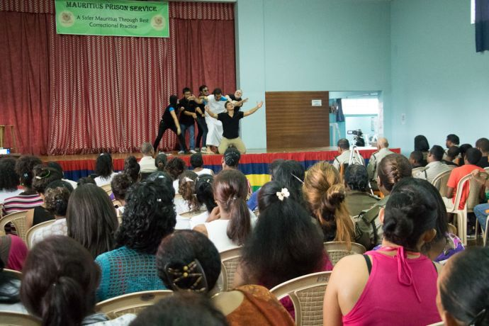 Mauritius: Port Louis, Mauritius :: A team from Logos Hope performs a drama for inmates at a local prison. More Info
