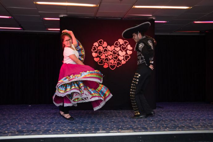 Mauritius: Port Louis, Mauritius :: Naibi Aguilera and Ruben Munoz (both Mexico) dance the Mexican dance at an event onboard in the Logos Lounge. More Info