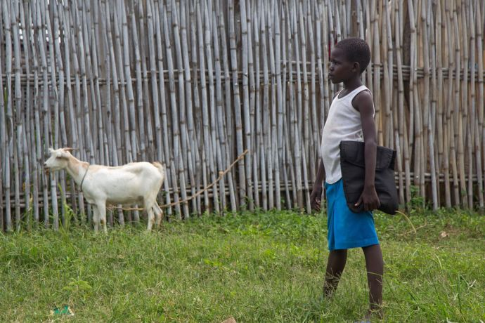 South Sudan: Child walks home from school in South Sudan.   Photo by Josiah Potter More Info