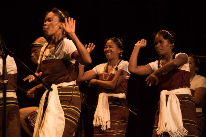 Madagascar: Toamasina, Madagascar :: Local dancers perform at an onboard event in the Hope Theatre Hope to Androy to raise awareness of the countrys need in the South. More Info
